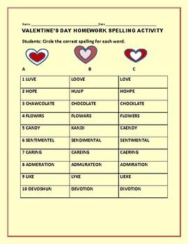 VALENTINE'S DAY HOMEWORK SPELLING ACTIVITY