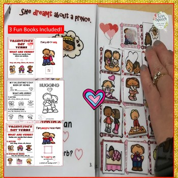 3 VALENTINE'S DAY INTERACTIVE BOOKS: VERBS- Colorful and black-lined versions