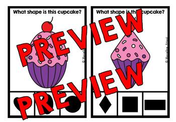 VALENTINE'S DAY KINDERGARTEN MATH CENTER (CUPCAKE SHAPES RECOGNITION CLIP CARDS)