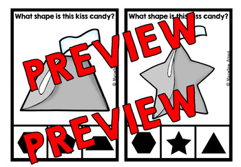 VALENTINE'S DAY MATH KINDERGARTEN CENTER (KISS CANDY SHAPES RECOGNITION CARDS)
