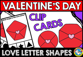 VALENTINE'S DAY ACTIVITY KINDERGARTEN MATH (LOVE LETTER SHAPES RECOGNITION CARDS