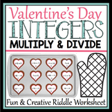 VALENTINE'S DAY MULTIPLY AND DIVIDE INTEGERS WORKSHEET