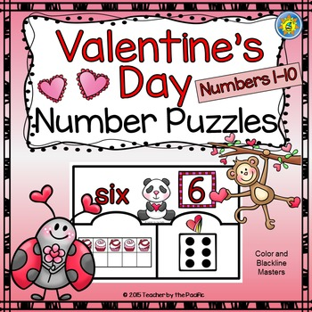 VALENTINE'S DAY Math Number Puzzles 1 – 10 - Ten Frames and Dice