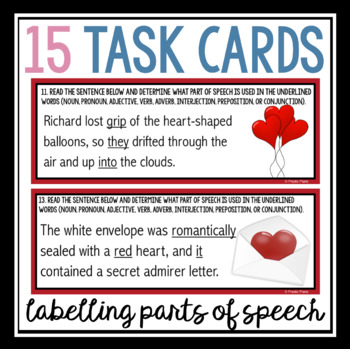 VALENTINE'S DAY PARTS OF SPEECH TASK CARDS ACTIVITY
