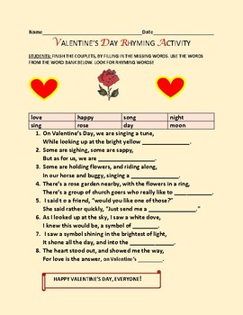 VALENTINE'S DAY: A RHYMING ACTIVITY, GRADES 3-6