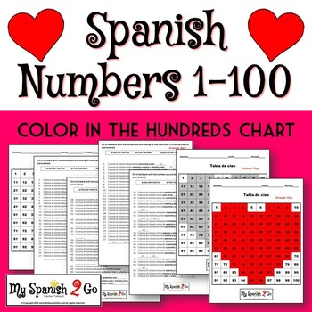 VALENTINE'S DAY:  Practice with numbers 1-100 in Spanish.