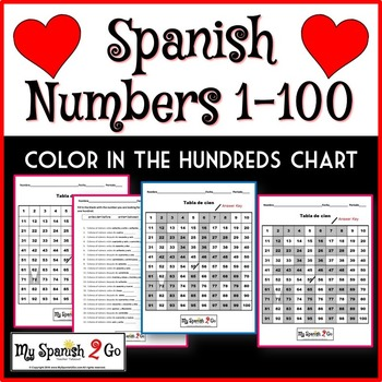 VALENTINE'S DAY: Practice with numbers 1-100 in Spanish--SPELL OUT