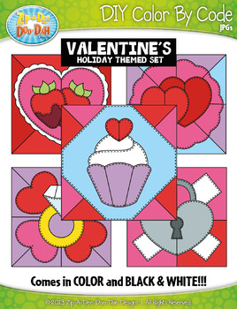 VALENTINE'S DAY Quilt Color By Code Clipart {Zip-A-Dee-Doo-Dah Designs}