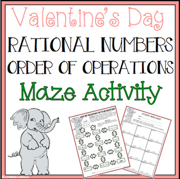 VALENTINE'S DAY RATIONAL NUMBERS MAZE ACTIVITY