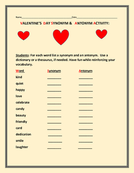 VALENTINE'S DAY SYNONYMS & ANTONYMS- ACTIVITY