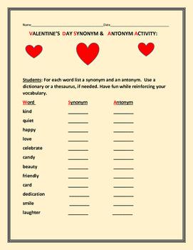 VALENTINE'S DAY SYNONYMS & ANTONYMS- ACTIVITY