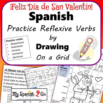 Valentine S Day Spanish Present Tense Reflexive Verbs Draw On Grid