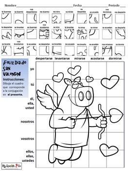 VALENTINE'S DAY: Spanish Present Tense Reflexive Verbs- Draw on Grid