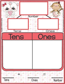 VALENTINE'S DAY TENS AND ONES MAT COUNTER N WORKSHEETS COMMON CORE MAFS ENVISION