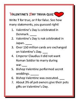 VALENTINE'S DAY TRIVIA QUIZ W/ ANSWER KEY