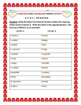VALENTINE'S DAY VOCABULARY MATCH: ESOL/ SPANISH