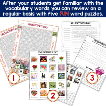 VALENTINE'S DAY Vocabulary Words: Flash Cards and Word Puzzles