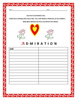 VALENTINE'S DAY WORD FIND: A VOCABULARY CHALLENGE ACTIVITY