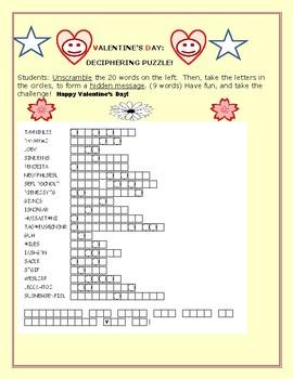 VALENTINE'S DAY WORD JUMBLE CHALLENGE!  20 WORDS/HIDDEN MESSAGE! MG/GRADES 4-12