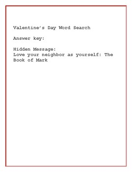 VALENTINE'S DAY WORD SEARCH  W/ HIDDEN MEANINGFUL  MESSAGE