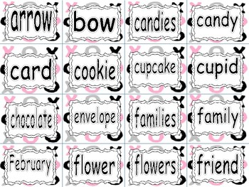 VALENTINE'S DAY ~  Word Wall Words
