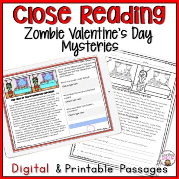 VALENTINE'S DAY ZOMBIES CLOSE READING MYSTERY PASSAGES
