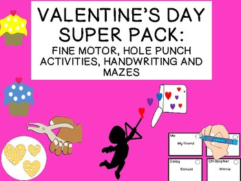 VALENTINE'S DAY fine motor, jokes, mazes, hole punch activities & more