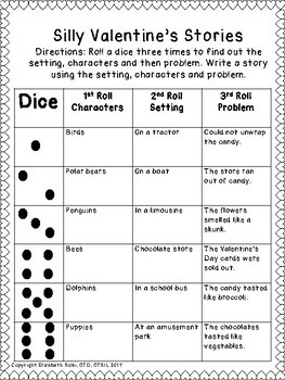 valentines day roll a dice silly sentences and stories k12345 - Valentine Stories