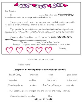 VALENTINE'S PARTY LETTER FOR PARENTS- FILL IN INFORMATION!