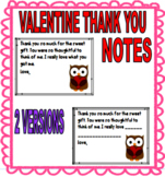 VALENTINE THANK YOU NOTES TO STUDENTS - 2 VERSIONS