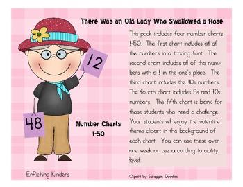 VALENTINE THEME NUMBER CHARTS 1-50