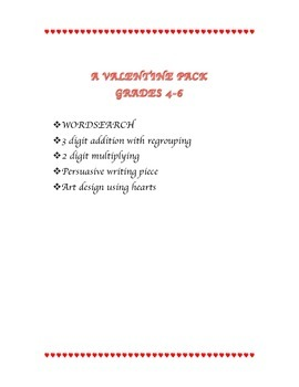 VALENTINE's DAY ACTIVITY PACK JUST PRINT AND GO!!