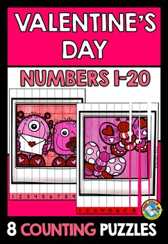 VALENTINE'S DAY MATH KINDERGARTEN CENTER (NUMBERS TO 20 COUNTING PICTURE PUZZLES