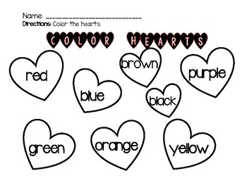 FREEBIE VALENTINES DAY- Color Hearts- Sight Words