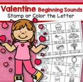 VALENTINE'S DAY Beginning Sounds Stamp or Color the Letter