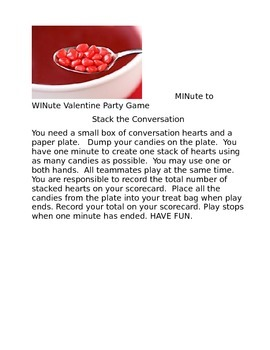 VALENTINE'S DAY MINute to WINute GAMES