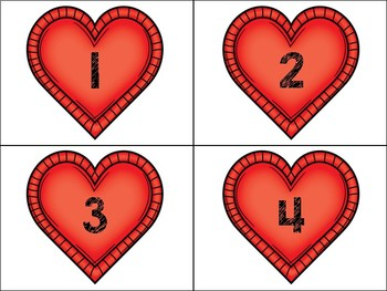 VALENTINES DAY - Number Cards 1-100