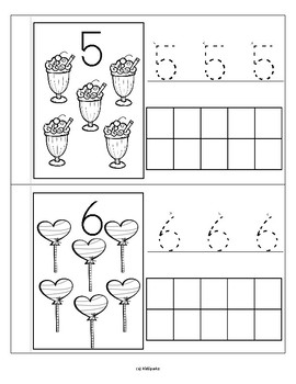 VALENTINE'S DAY TREATS Little Number Book Counting Tracing &  Stamping