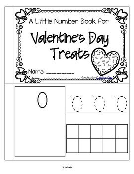 VALENTINE'S DAY TREATS Little Number Book Counting Tracing