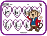 VALENTINE'S MUSIC NOTE WORKSHEET! Name Those Notes! w Answer Key- Great for Subs
