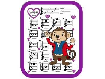 VALENTINE'S MUSIC NOTES! Name Those Notes- w Answer Key! Great for Subs!
