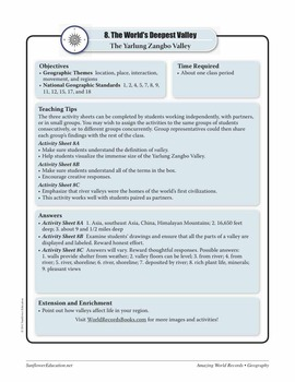 VALLEYS—Geography Worksheets and Activities