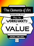 VALUE- Elements of Art Worksheet Packet PARAGRAPH STYLE FILL-IN