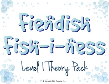 VALUE PACK: Fishiness Level 1 Music theory worksheets, game and flashcards