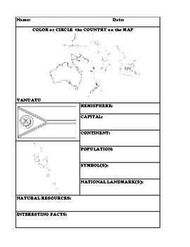 VANUATU COUNTRY RESEARCH WORKSHEET
