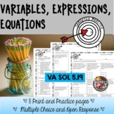 VARIABLES EXPRESSIONS EQUATIONS GRADE 5 VIRGINIA SOL 5.19
