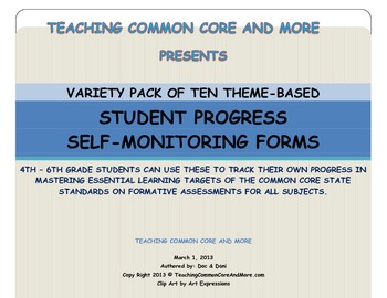 VARIETY PACK OF STUDENT PROGRESS SELF-MONITORING FORMS