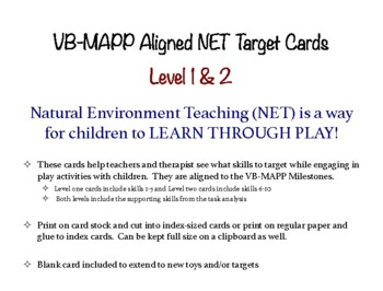 VB-MAPP Aligned Play-Based Natural Environment Task Cards - Level 1 & 2- ABA NET