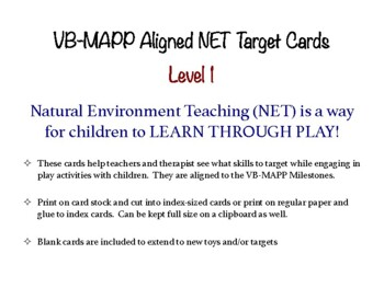 VB-MAPP Aligned Play-Based Natural Environment Teaching (NET) Target Cards - ABA