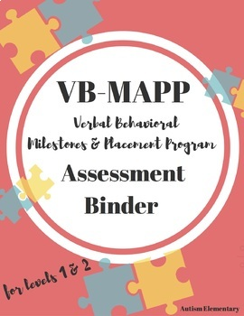 HALF OFF!! VB-MAPP Assessment Binder Toolkit for Applied Behavioral Analysis